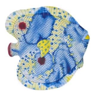 Handmade Melamine Swimmingly Fish Yelllow/ Blue 16-inch Platter (Philippines)