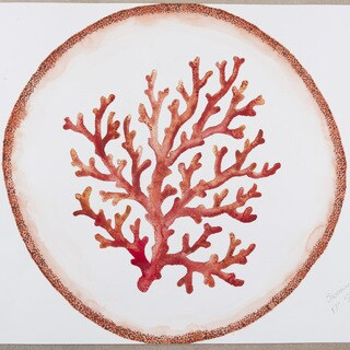 Handmade Melamine Swimminlgy Coral Coral/ White 17-inch Shallow Bowl (Philippines)