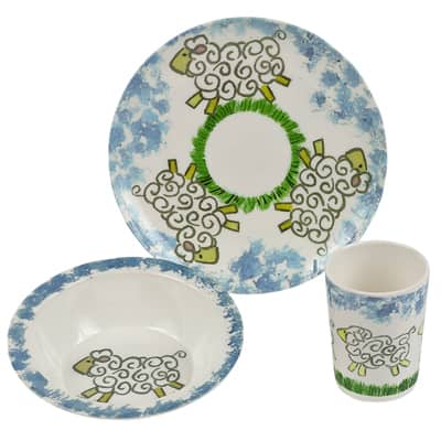 Handmade Melamine Little Baby Boys Blue/ White 3-piece Place Setting (Philippines)