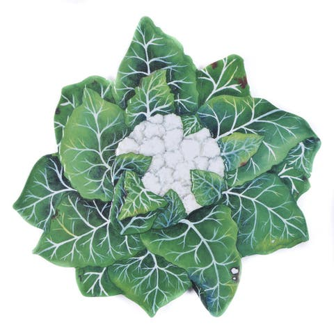 Handmade Melamine Verdura Cauliflower White/ Green 16-inch Tray (Philippines)