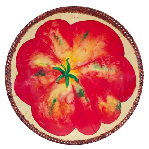 Handmade Melamine Verdura Tomato Red/ Cream 17-inch Shallow Bowl (Philippines)