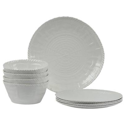 Handmade Melamine Woven White 12-piece Dinnerware Set (Philippines)