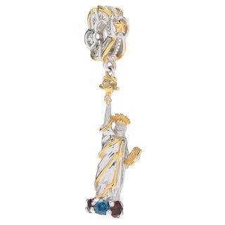 Michael Valitutti Palladium Silver Garnet, Citrine & London Blue Topaz Statue of Liberty Drop Charm