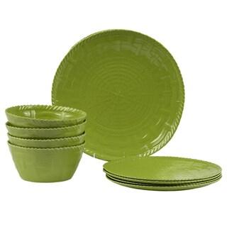 Handmade Melamine Woven Sage Green Dinnerware Set (12 pieces)