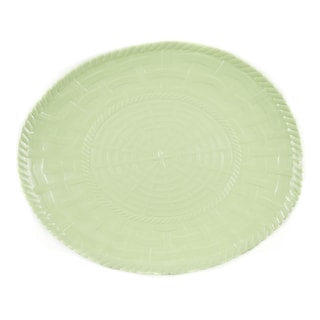 Handmade Melamine Woven Sage Green 17-inch Oval Platter (Philippines)