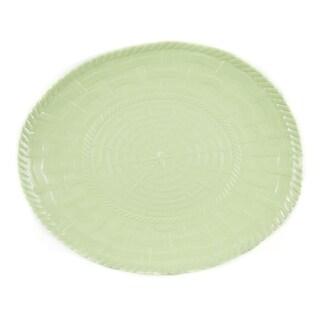 Handmade Melamine Woven Sage Green 17-inch Oval Platter (Philippines)