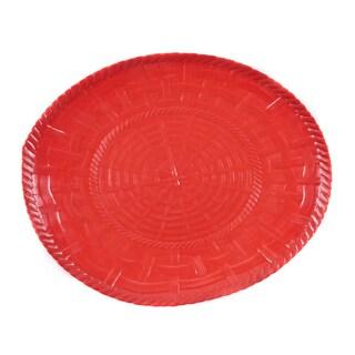 Handmade Melamine Woven Red 17-inch Oval Platter (Philippines)