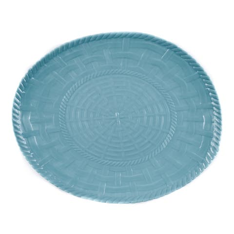 Handmade Melamine Woven Turquoise 17-inch Oval Platter (Philippines) - Green