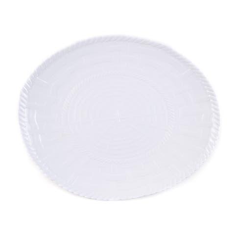 Handmade Melamine Woven White 17-inch Oval Platter (Philippines)
