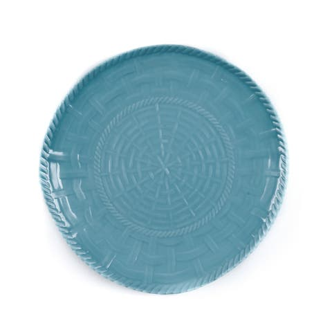 Handmade Melamine Woven Turquoise 17-inch Shallow Bowl (Philippines)
