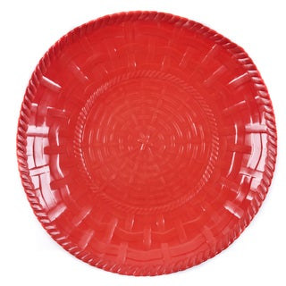 Handmade Melamine Woven Red 17-inch Shallow Bowl (Philippines)
