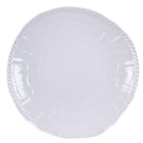 Handmade Melamine Woven White 17-inch Shallow Bowl (Philippines)