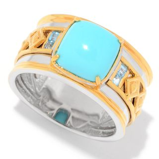 Michael Valitutti Palladium Silver Kingman Turquoise & Blue Topaz Wide Band Men's Ring