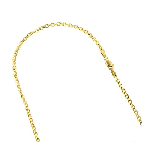 Luxurman 14k Solid Gold 2.3mm Cable Link Diamond-cut Chain Necklace Lobster Clasp