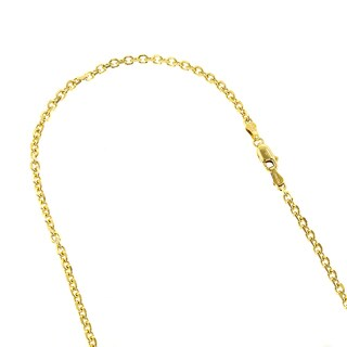 Luxurman 14k White or Yellow Solid Gold 2.3mm Cable Link Diamond-cut Chain Necklace with Lobster Claw Clasp
