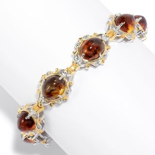 Michael Valitutti Palladium Silver Choice of Length Baltic Amber Scrollwork Line Bracelet (2 options available)