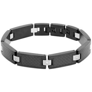 Stainless Steel 1/8ct TDW White Diamond Carbon Fiber Bracelet (H-I, I2-I3)