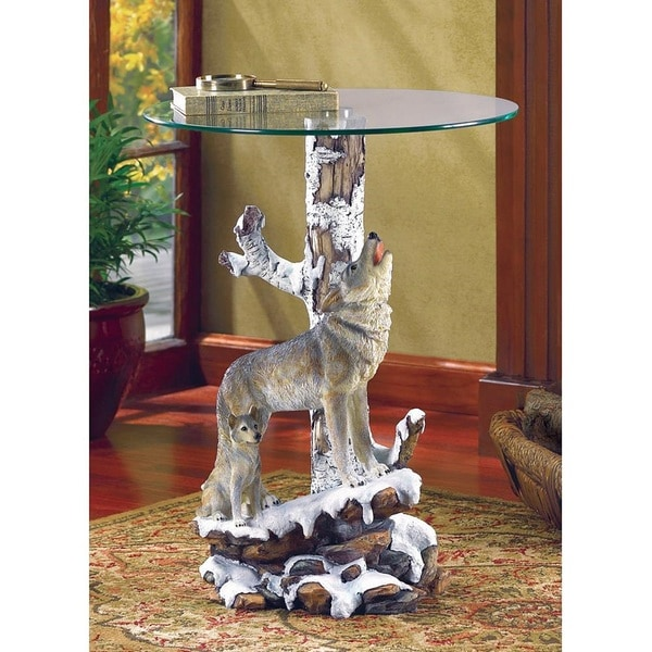 Forest Wolf Glass End Table