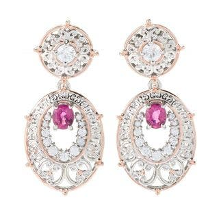 Michael Valitutti Palladium Silver Rubellite & White Zircon Drop Earrings|https://ak1.ostkcdn.com/images/products/14693145/P21225591.jpg?impolicy=medium