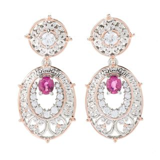 Michael Valitutti Palladium Silver Rubellite & White Zircon Drop Earrings