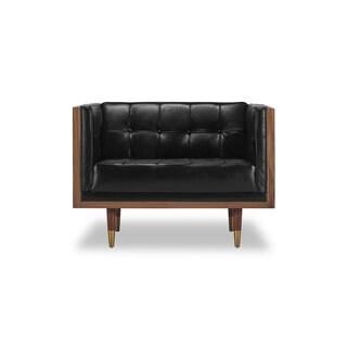 Kardiel Woodrow Midcentury Modern Box Premium Aniline Leather Chair