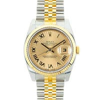 Pre-owned Rolex Mid 2000's Model 116233 Men's Datejust Two-Tone Champagne Sunbeam Dial Watch