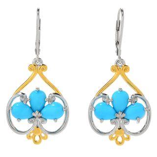 Michael Valitutti Palladium Silver Pear Shaped Sleeping Beauty Turquoise Drop Earrings