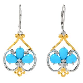 Michael Valitutti Palladium Silver Pear Shaped Sleeping Beauty Turquoise Drop Earrings