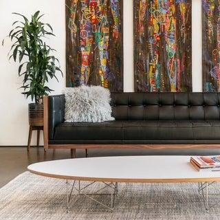 "Kardiel Woodrow Midcentury Modern Box Premium Aniline Leather Sofa - Height 27.9"" x Depth 31.9"" x Width 86.6"""