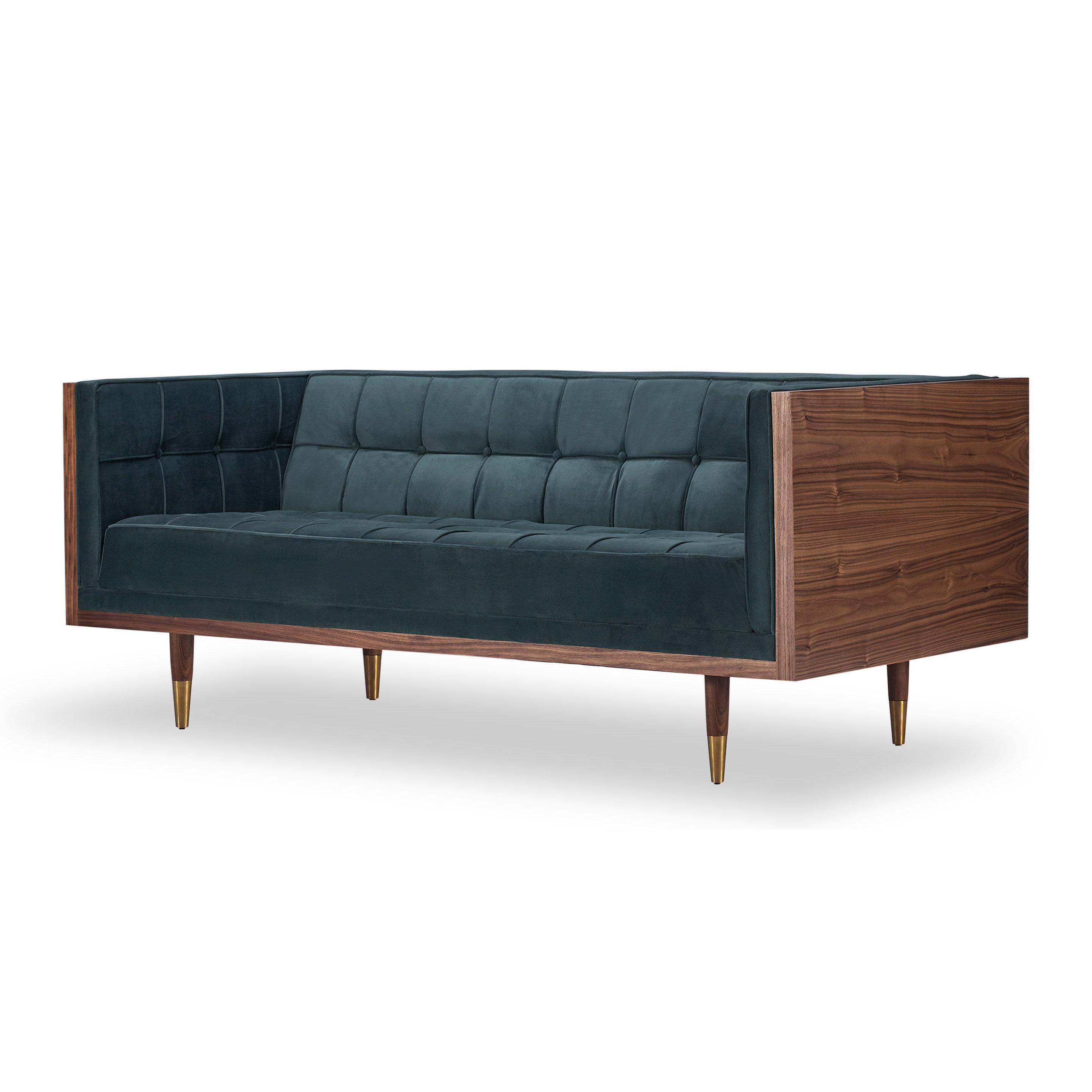 Kardiel Woodrow Box Midcentury Modern 71 Sofa Loveseat Velvet Walnut