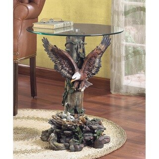 Glamorous Birdnest Glass Accent Table