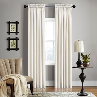 "Grand Luxe Pearl Linen Gotham Rod Pocket Curtain Panel 63"" in Pearl (As Is Item)"