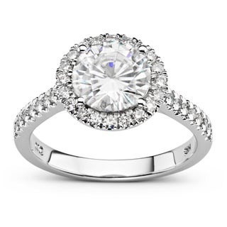 Charles & Colvard 14k White Gold 2 1/4ct DEW Forever Brilliant Round Halo Ring
