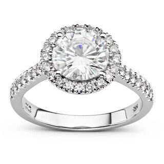Charles & Colvard 14k White Gold 2 1/4ct DEW Forever Brilliant Round Halo Ring