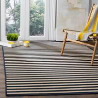 """Safavieh Four Seasons Contemporary Stripe Ivory / Navy Rug - 3'6"""" x 5'6"""""""