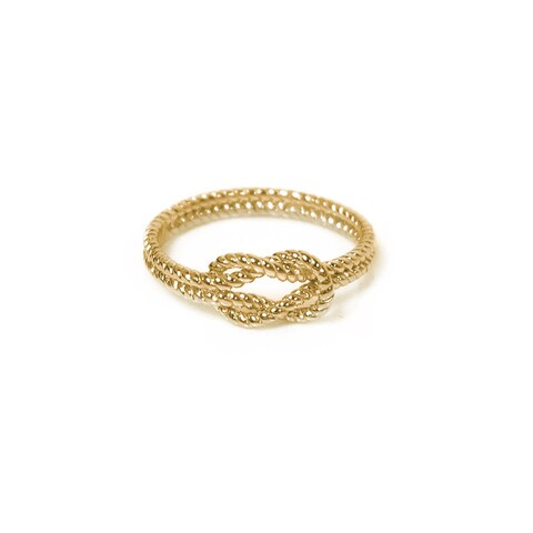 Eternally Haute 14k Yellow Gold plated Solid Sterling Silver Braided Love Knot Ring