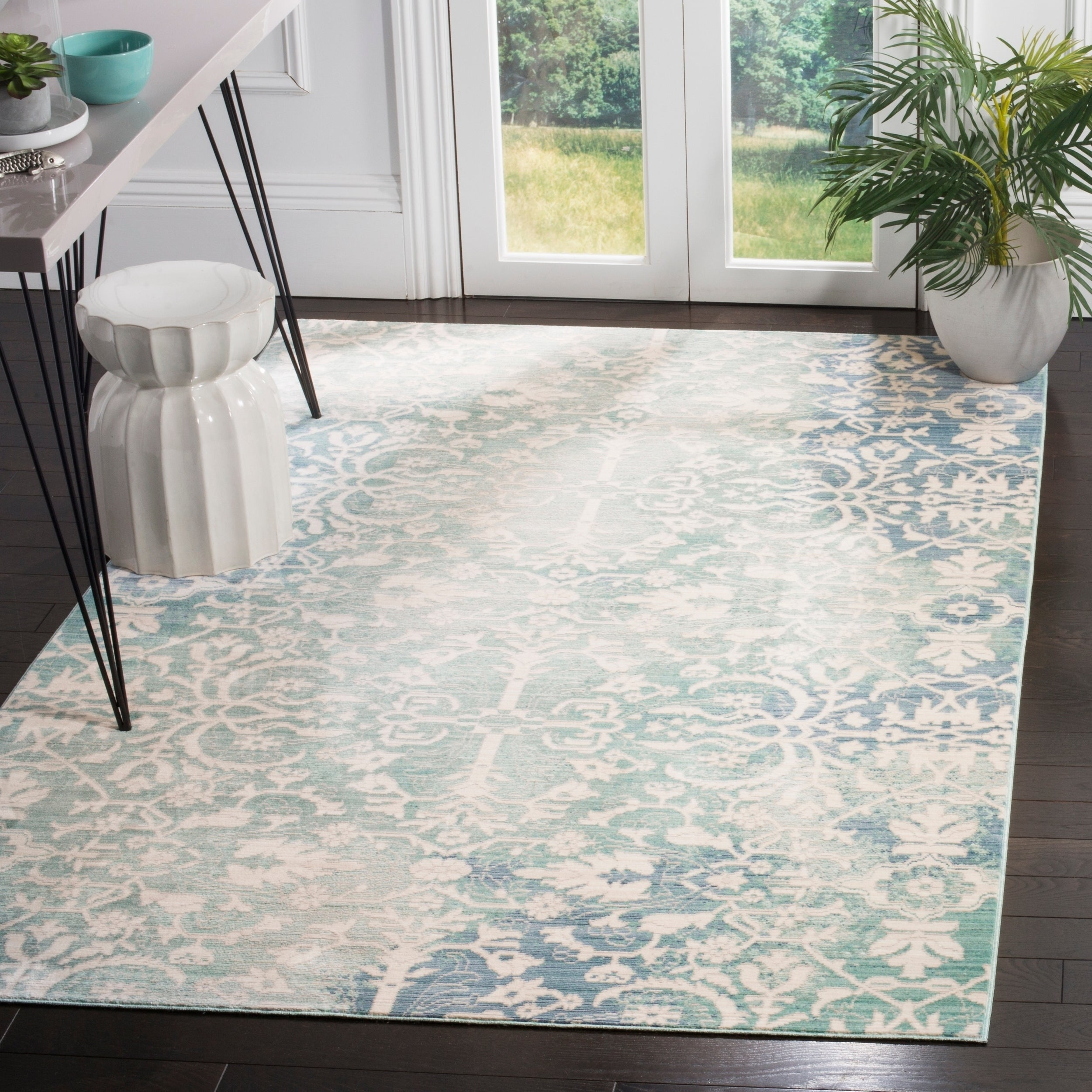 Safavieh Mystique Watercolor Blue/ Ivory Silky Rug (4' x ...