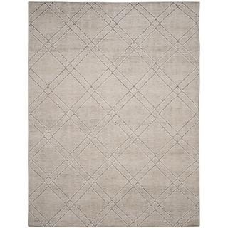 Safavieh Stone Wash Contemporary Hand-Knotted Khaki / Grey Wool Rug (4' x 6')