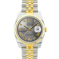 Pre-owned Rolex Mid 2000's Model 116233 Men's Datejust Two-tone Grey Sunbeam Dial Watch