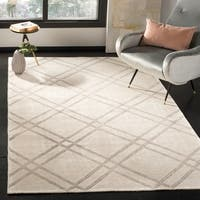 Safavieh Stone Wash Contemporary Hand-Knotted Dove / Ivory Wool Rug - 5' x 8'