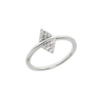Eternally Haute Pave Double Arrow Head Ring - Silver