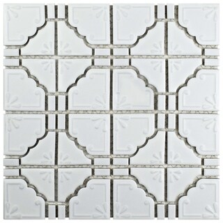 SomerTile 11.75x11.75-inch Luna Matte White Porcelain Mosaic Floor and Wall Tile (10/Case, 9.79 sqft.)