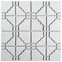 SomerTile 11.75x11.75-inch Luna Matte White Porcelain Mosaic Floor and Wall Tile (10 tiles/9.79 sqft.)