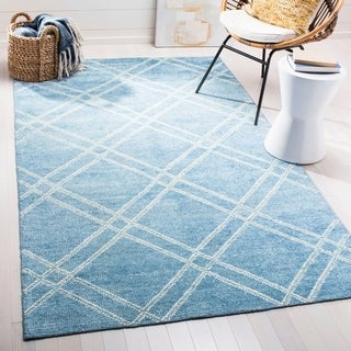 Safavieh Stone Wash Contemporary Hand-Knotted Deep Blue Wool Rug (8' x 10')