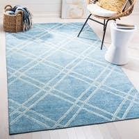 Safavieh Stone Wash Contemporary Hand-Knotted Deep Blue Wool Rug - 8' x 10'