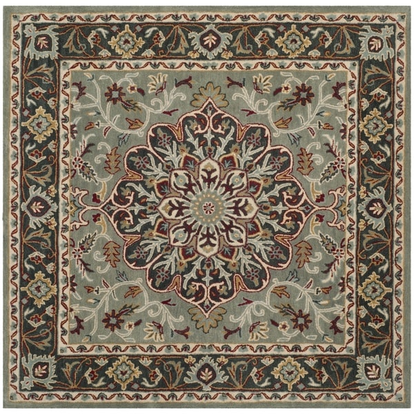 Safavieh Heritage Hand-Woven Wool Grey / Charcoal Area Rug - 6' Square