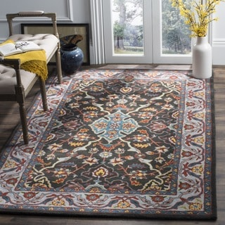 Safavieh Heritage Hand-Woven Wool Charcoal / Ivory Area Rug (6' Square)