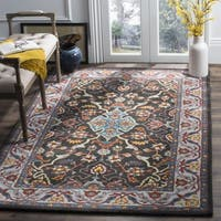 Safavieh Heritage Hand-Woven Wool Charcoal / Ivory Area Rug - 6' Square