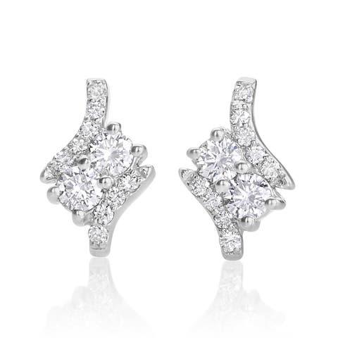 SummerRose 14k White Gold 1/3ct TDW Diamond Forever 2 Stud Earrings