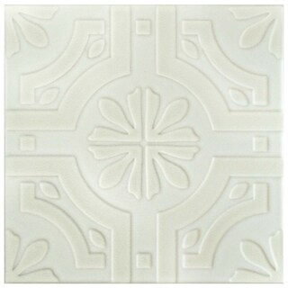 SomerTile 7.75x7.75-inch Triple Real White Ceramic Wall Tile (25 tiles/11 sqft.)